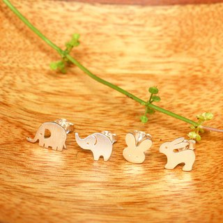 Goody Bag - Ele Rabbit Set - 4 pairs of Animal Silver Earrings / Handmade / 银耳环