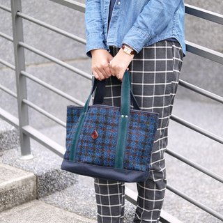 Harris Tweed Scottish Hand Woven Wool Tote / Handbag Blue Made in Japan by CLEDRAN