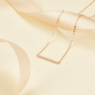 【PurpleMay Jewellery】18k Rose Gold Horizontal Bar Diamond Pendant Necklace P009