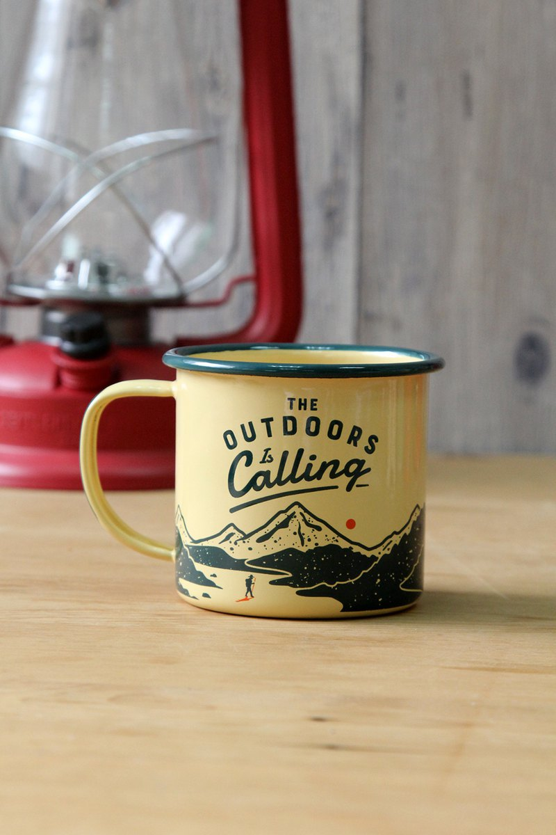British wild and Wolf field calls for yellow 珐琅 mug