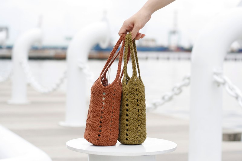 Eco-friendly beverage bag - 2 pieces group cup bag kettle bag hand-woven gift Christmas gift