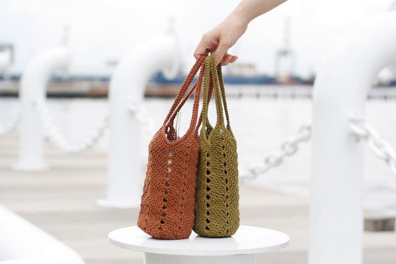 環保飲料袋-2件組 杯袋 水壺袋 手工編織