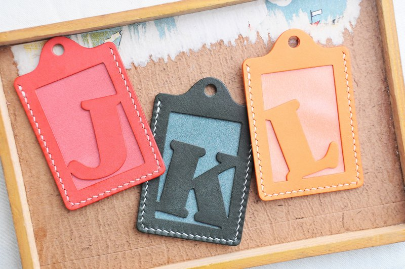 Initial letter J | K | L Letter ID sets of well-stitched leather material bag card holder name card holder