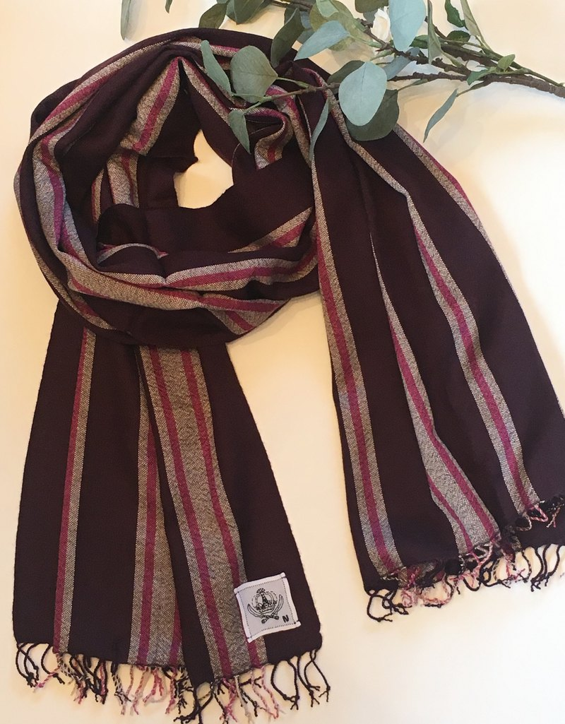 100% Cashmere Hand Woven Awning Stripe Shawl