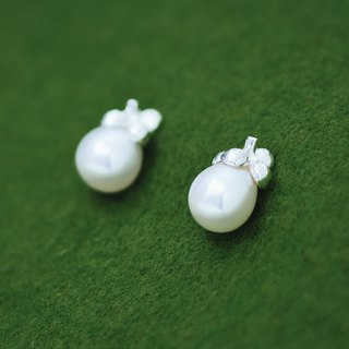 Mangosteen silver pearl earrings - Asian and Japanese fruit stud earrings