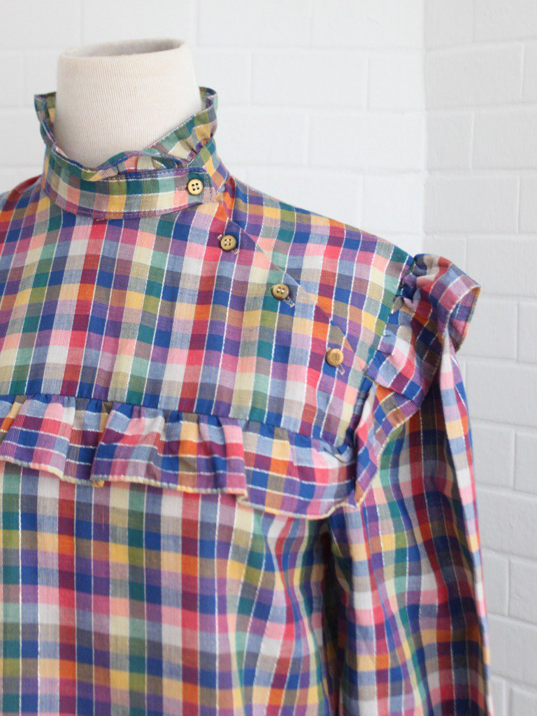 Retro European Early Autumn Cute Stand Collar Blue Purple Plaid Plaid Long Sleeve Vintage Shirt