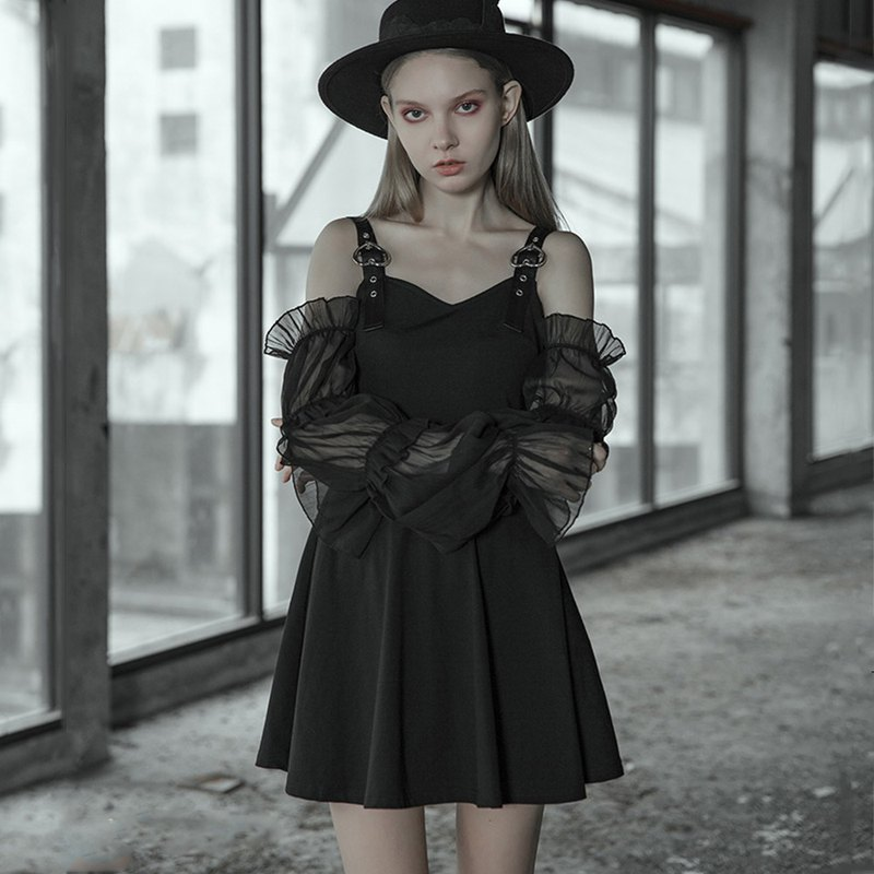 Lolita heart detachable puff sleeve dress