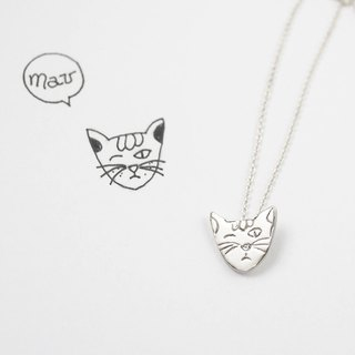Children's Painting Jewelry / 925 Sterling Silver / Cat Face Necklace / Advanced Custom