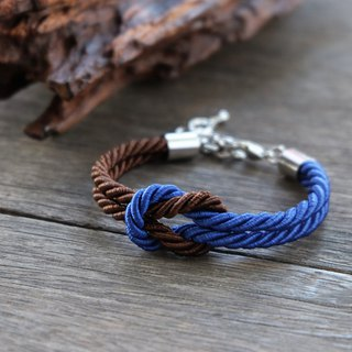 Admiral blue & Chocolate brown knot rope bracelet