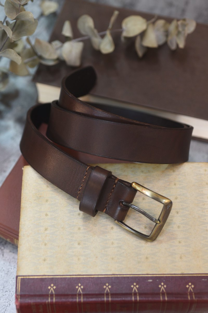 Italian Italian leather belt leather belt matte hand-dyed coffee