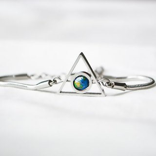Triangle Double Turn Earth Bracelet -- silver