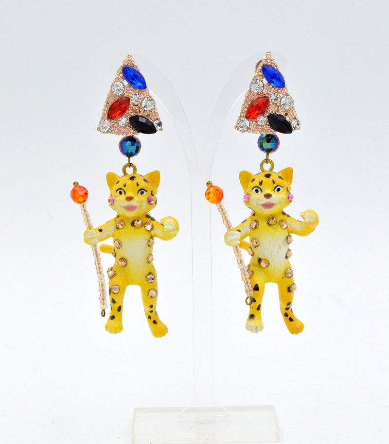 TIMBEE LO Yellow Flower Leopard Earrings