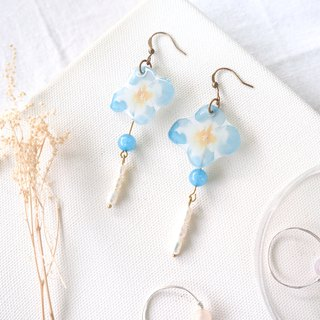 Flower collection book handmade earrings - small lucky freshwater pearl dyed sea blue jade can be changed