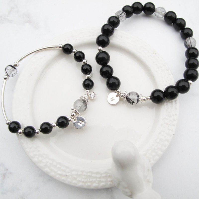 Big staff Taipa [handmade silver] obsidian × black crystal crystal x purification to avoid evil couple bracelet