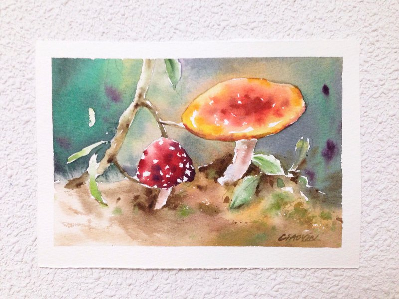 Watercolor forest magic mushroom hand drawn original 2