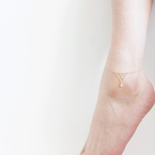14KGF】 Anklet, 14KGF Chain Triangle
