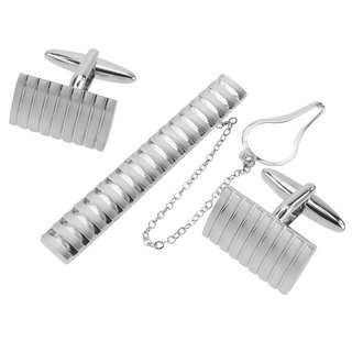 Brushed Silver Stripes Cufflinks and Tie Clip Set