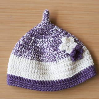 Acorn hat,hand-knit,wool,white and purple