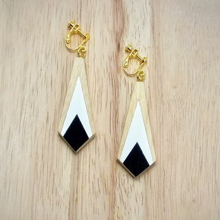 Wooden Earrings Square Water No.3