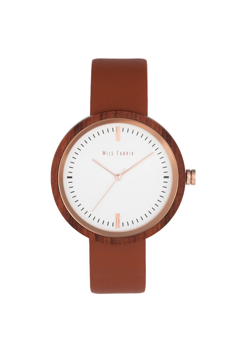 Zeon Red 紅檀木殼啡色油鞣皮革腕錶