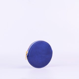 Hand-stitched round zip purse _ Blue / Round Leather Coin Case_Blue