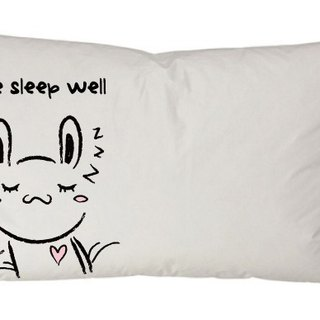 """Foufou"" pillow cover (single-entry) - hand in hand sleeping rabbit (gray / white)."