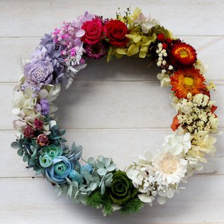 Dry Wreath / Home Decoration Ring / Rainbow World