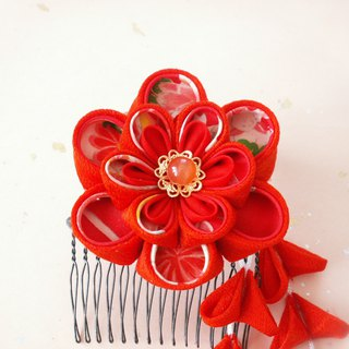 [New] Kimami Hair accessories for adult ceremony 【It becomes a set of hair ornaments like big bouquet · red】