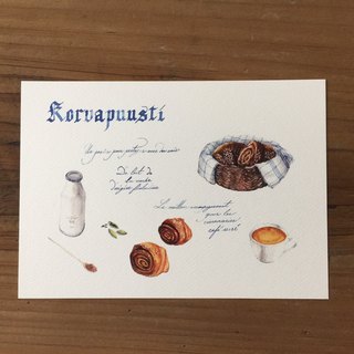 Diet and travel hand drawn postcard - cinnamon rolls