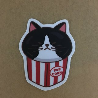 """Art of the fish,"" cat popcorn daily small waterproof stickers -SS0073"
