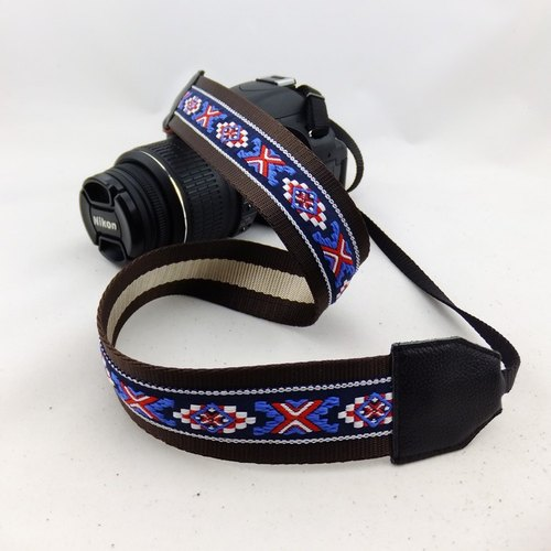 Camera strap can print personalized custom embroidered words embroidered leather stitching pattern national wind 056