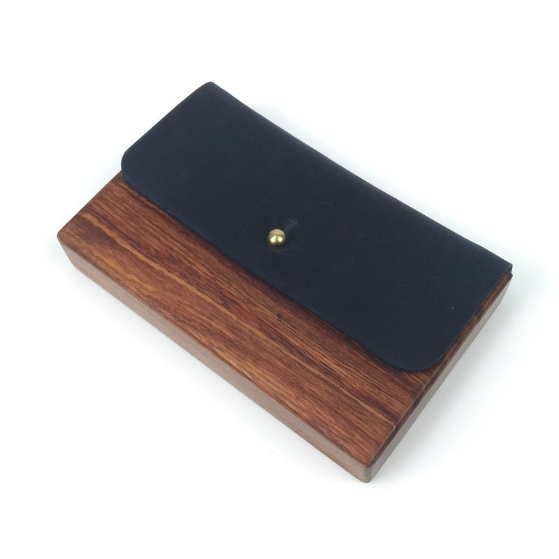 Wooden stitching mad horse case card box blue black pure copper buckle hand-sewn leather custom made wood card holder