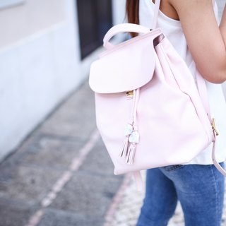 SL original stone series (mini version). Pink leather / Italian leather / shoulder bag / dual-use bag / shoulder bag / summer color