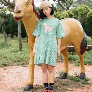 YML stroll dinosaur super comfortable green grass Plaid Dress