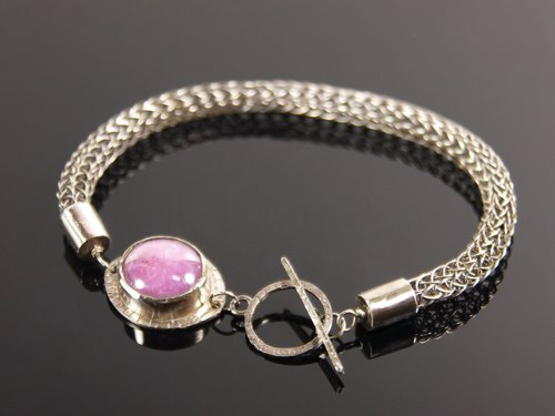 Pure hand-made knit forging knock-925 sterling silver inlay Star Ruby bracelet - pink section