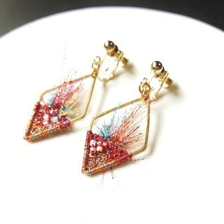 Fire Embroidered Brass Earrings