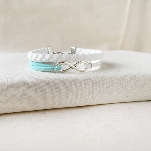 Handmade Double Braided Infinity Bracelets –snow white limited