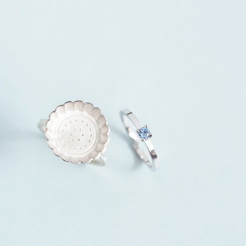 2 co-set) biscuits + aquamarine ring set 925