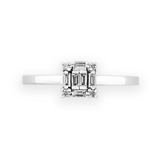 JewCas Carre series 10K Gold Diamond Ring (White Gold) _BJC7080d-W