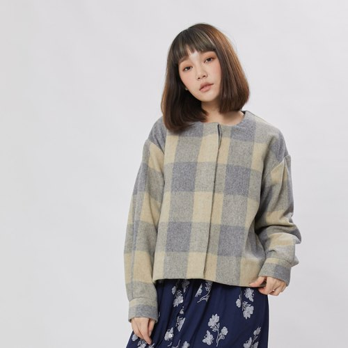 Miriam Crew-neck wool coat / Grey lattice