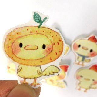 In yellow chick stickers (six up a group)