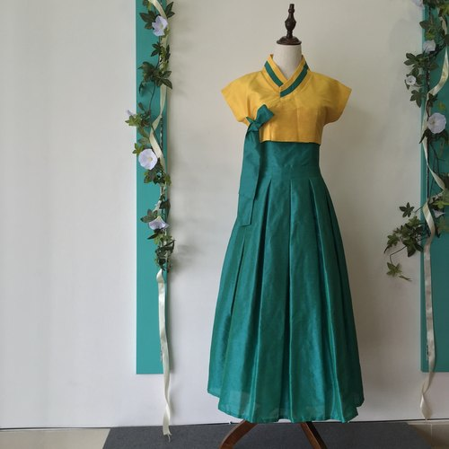 Fusion Hanbok Dress / Maxi Dress / Party Dress / Prom Dress / Dinner Dress / Green, Yellow / Premium Clothing / Raw Silk / Custom Made