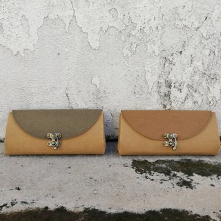 [Simplistic one] retro horn lock washed kraft paper organ wallet