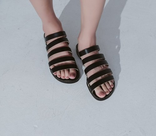 Structural formula bar slippers fine black leather sandals