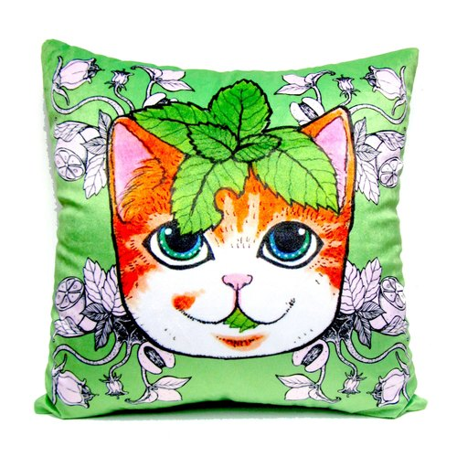 GOOKASO Green Mint Leaf Cat Pillow CUSHION Pillow Pillow Set removable and washable