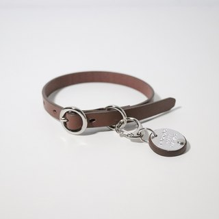 LUCE vegetable tanned leather cat collar + hand knock brand offer group - tricolor