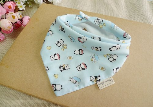 Triangle mouth towel - bath small kitten (water blue)