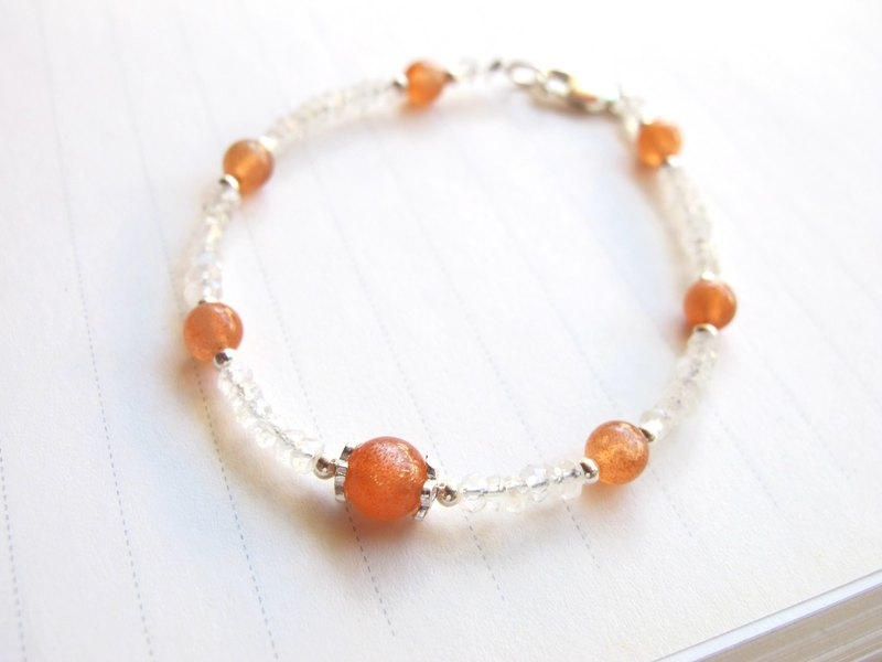 [Orange Soap] Moonstone x Sunstone x925 Silver - Bracelet Design