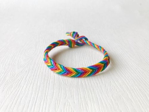 Rainbow Sugar - Silk Wax Line / Hand Knit Bracelet