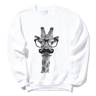 Giraffe bonjour (Spot) University T bristles 2 color giraffe Hello French glasses beard animal Wenqing
